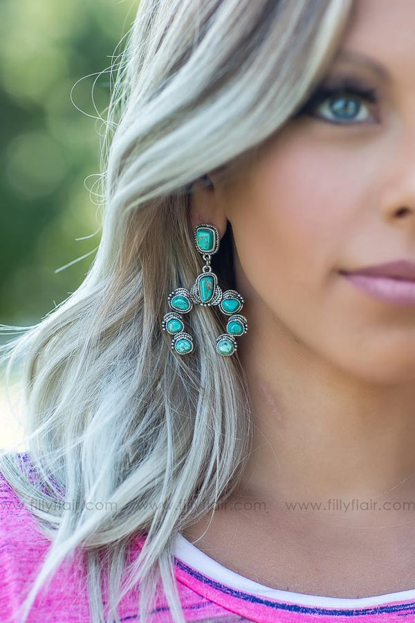 I Go Back Squash Blossom Authentic Turquoise Earrings - Filly Flair