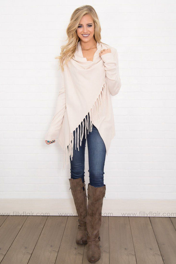 Miss Connor Long Sleeve Fringe Hem Wrap Cardigan in Ivory