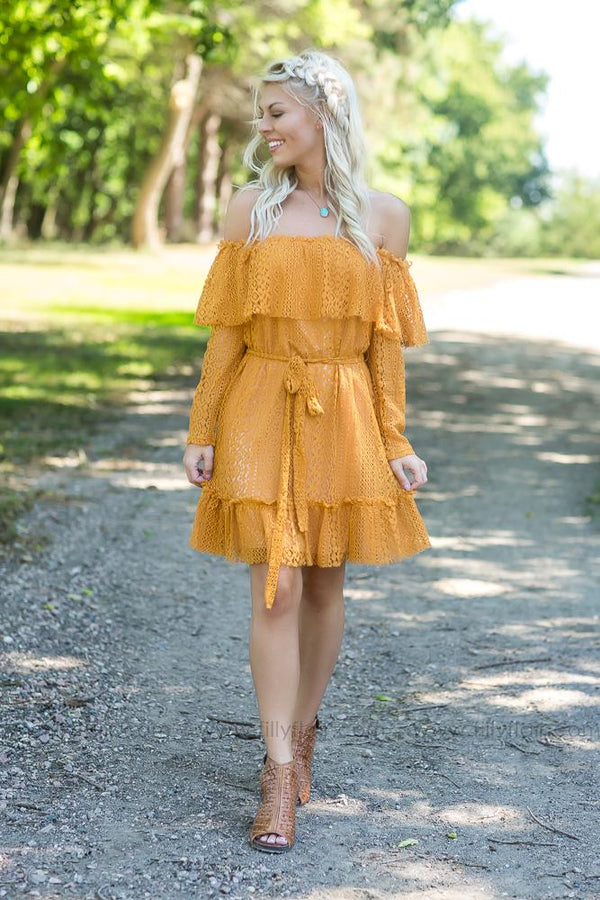 Fields Of Gold Crochet Off The Shoulder Dress In Mustard - Filly Flair