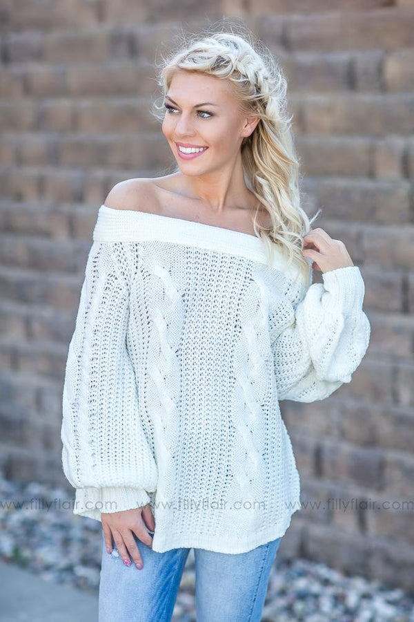 Lost Without You Off the Shoulder Sweater in Ivory - Filly Flair