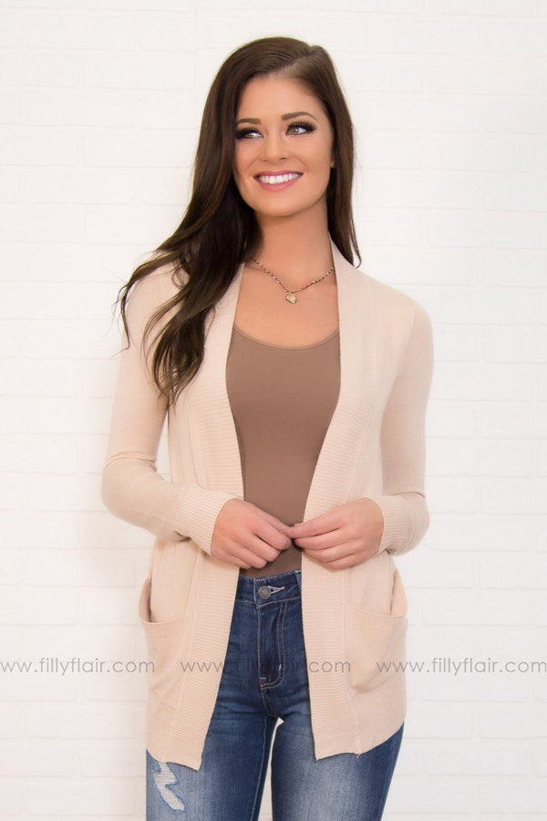 Simple as Ever Almond Open Long Sleeve Cardigan