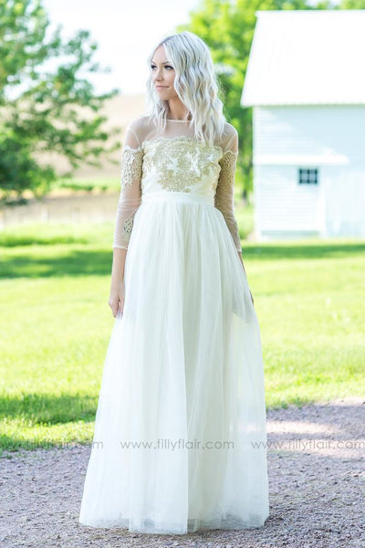 It's a Love Story Embroidered Detail Tulle Maxi Dress - Filly Flair