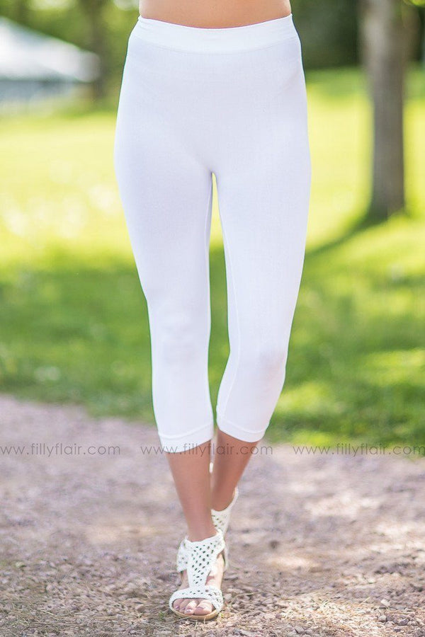 Blank Slate Nikibiki White Copped Leggings