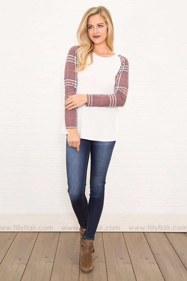 Hometown Girl Long Sleeve Top in Ivory Plaid