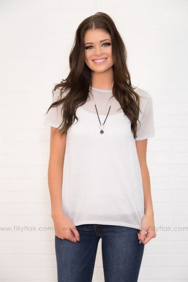Sheer Joy Metallic Short Sleeve Top In Grey Silver