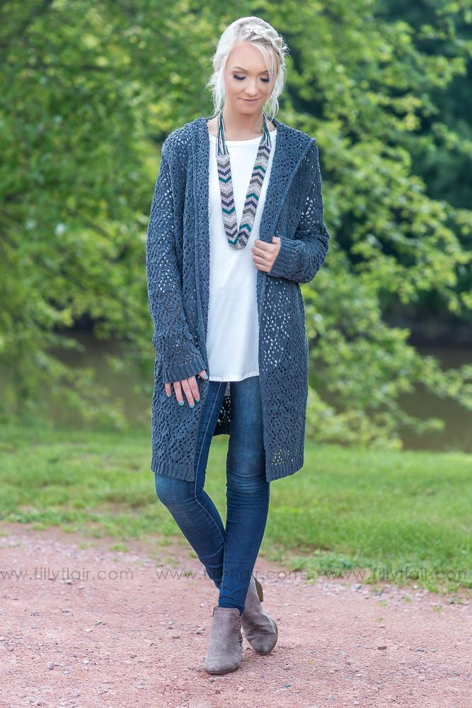 POL: Charcoal Open Long Crochet Cardigan with Hood - Filly Flair