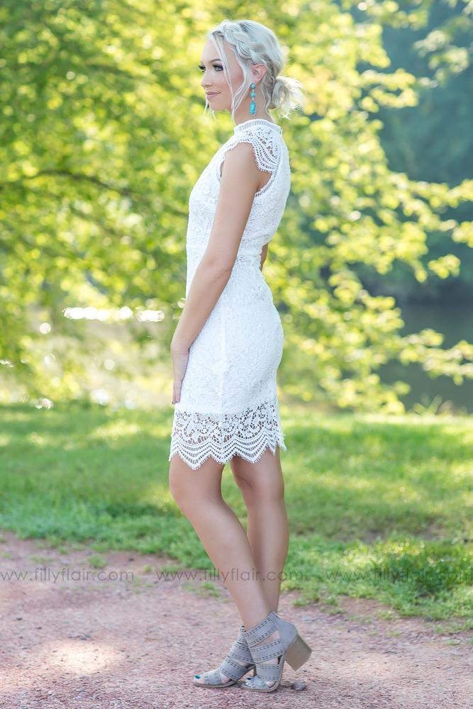 Classic Love Crochet Dress in White - Filly Flair