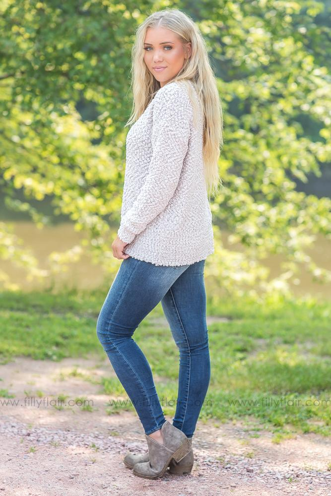 See Where It Goes Crewneck Fluffy Sweater in Ivory - Filly Flair