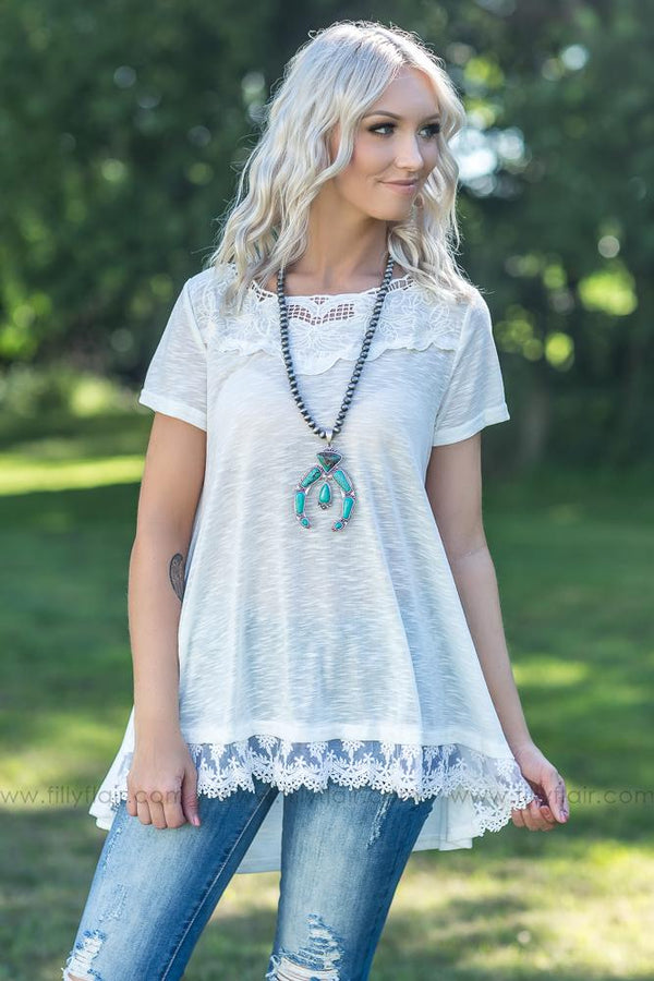 Handle Your Heart Lace Trim Top in White