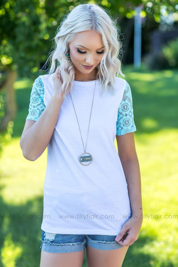 Everyday Favorite Ampersand Avenue Top with Aqua Lace Sleeves - Filly Flair