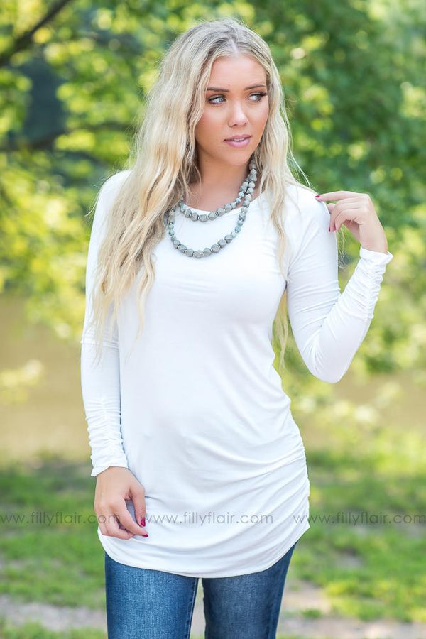 Barely Basic White Long Sleeve Tunic With Side Ruching - Filly Flair