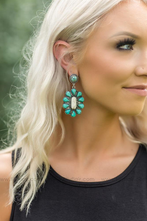 Delicate Authentic Turquoise and White Earrings - Filly Flair