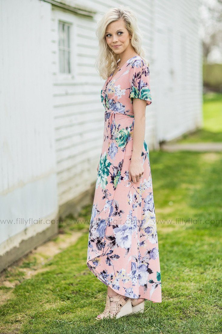 Tropical Paradise Floral Print High-Low Wrap Dress