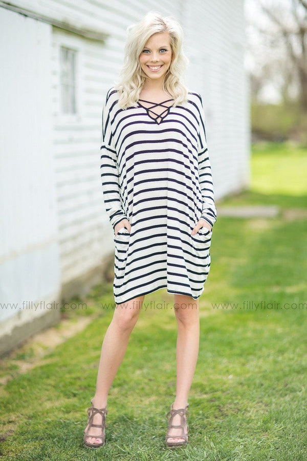 Bayside Criss Cross Striped Dress in Ivory