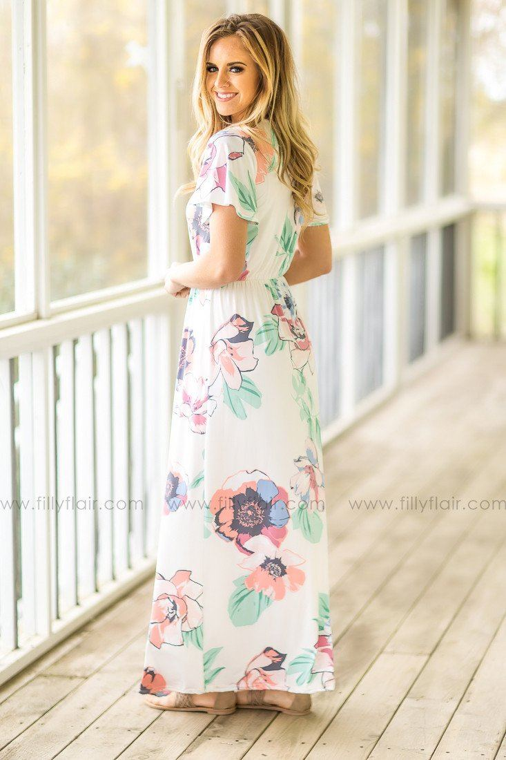 Be my Sugar Floral Maxi Dress in Ivory