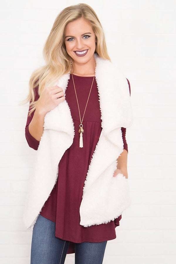 Northern Beauty Fur Vest in White