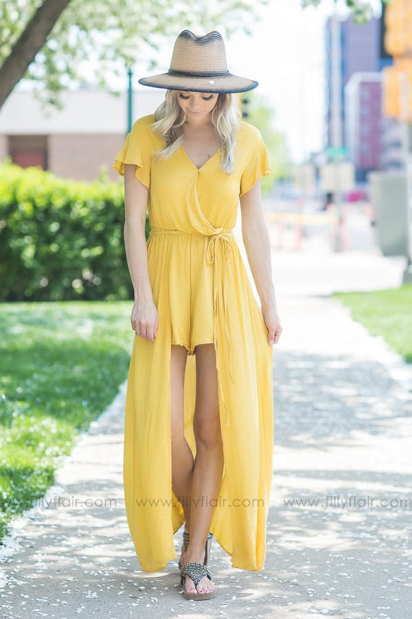 Come to Me Mustard Short Sleeve Romper Maxi