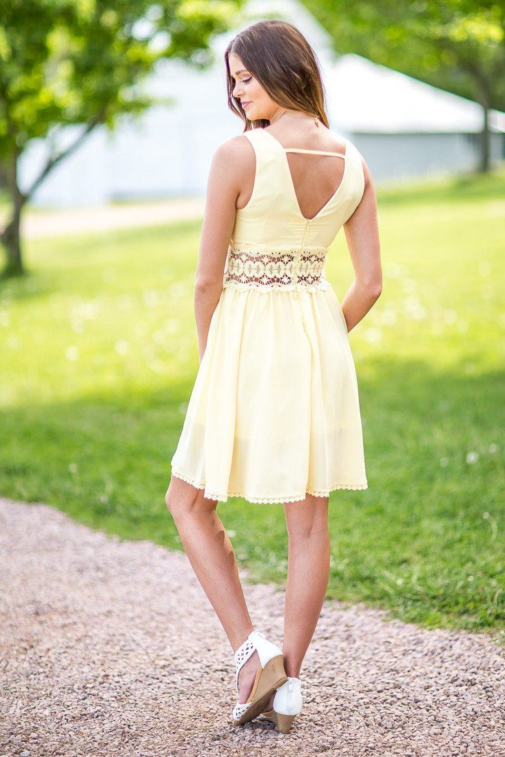 All the Pretty Things Yellow Lace Trim Dress