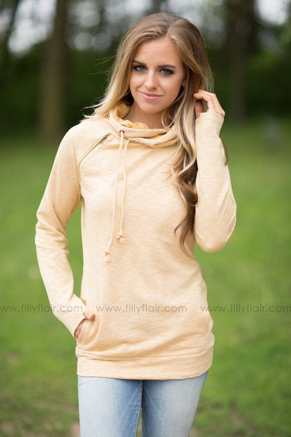 Endless Weekend Double Hooded Sweatshirt in Mustard