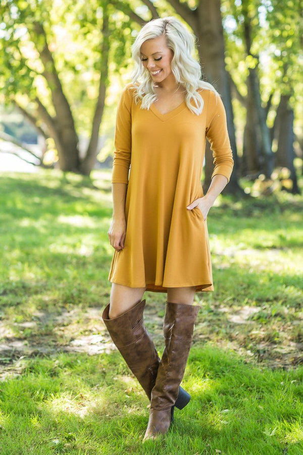 For Your Love 3/4 Sleeve Dress in Mustard with Pockets