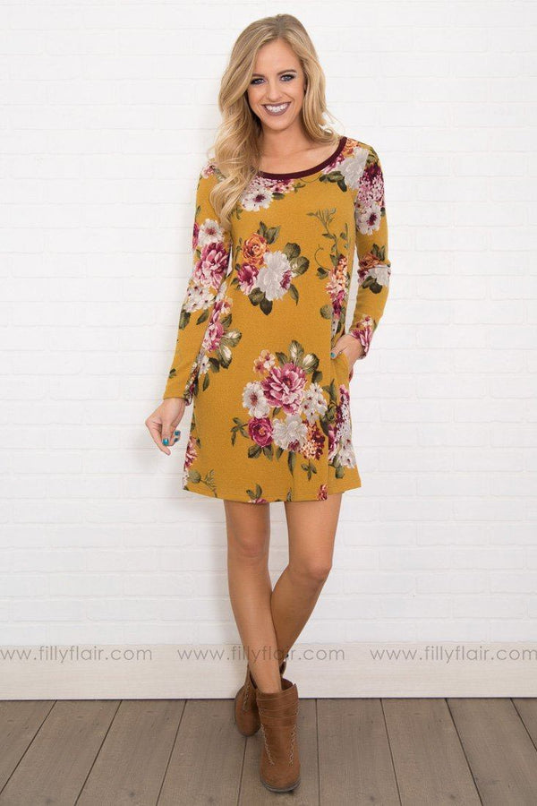 My Flawless Floral Long Sleeve Mini Dress in Mustard
