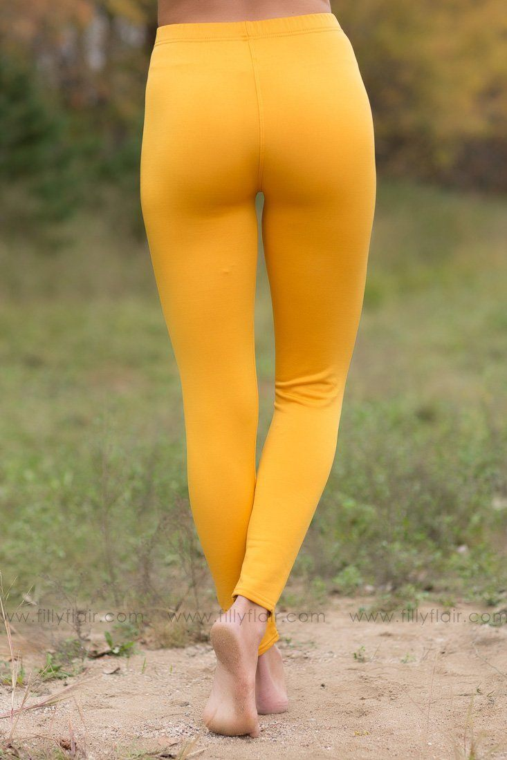 Here To Stay Mustard High Waisted Leggings