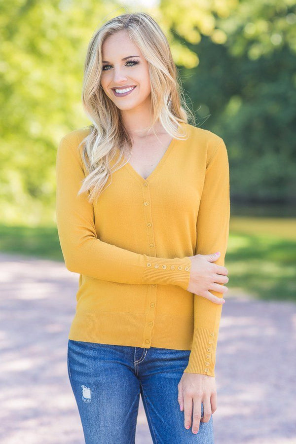 All The Way Down Button Down Cardigan In Mustard
