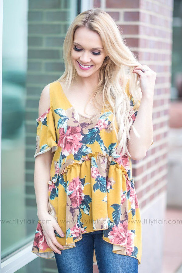 Wish It Was Me Floral Cold Shoulder Baby Doll Top In Mustard