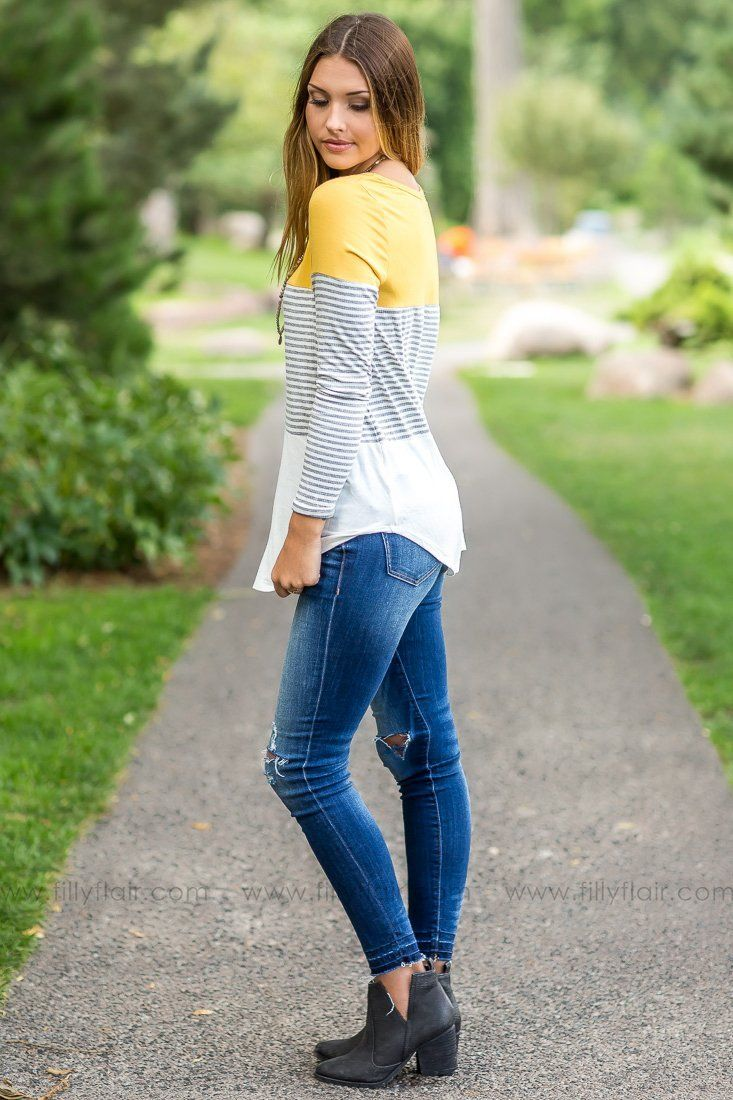 One of a Kind Mustard Long Sleeve Top