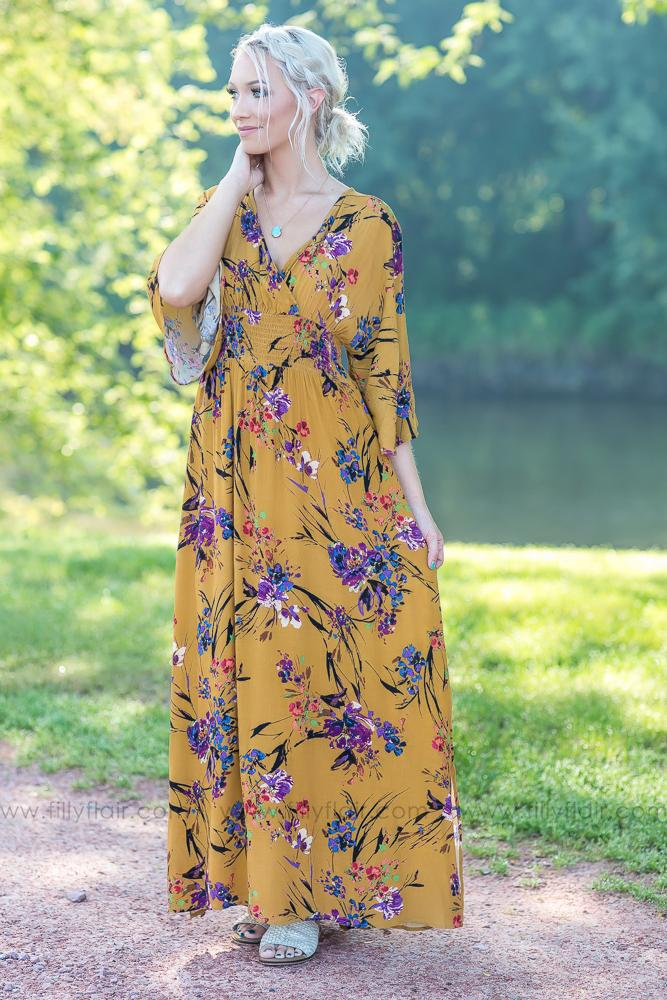 Wrapped Up in You Mustard Floral Dress - Filly Flair