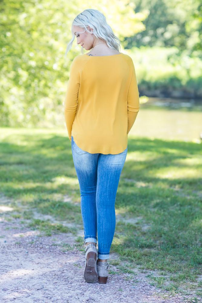Fall For You Long Sleeve Sweater in Mustard - Filly Flair