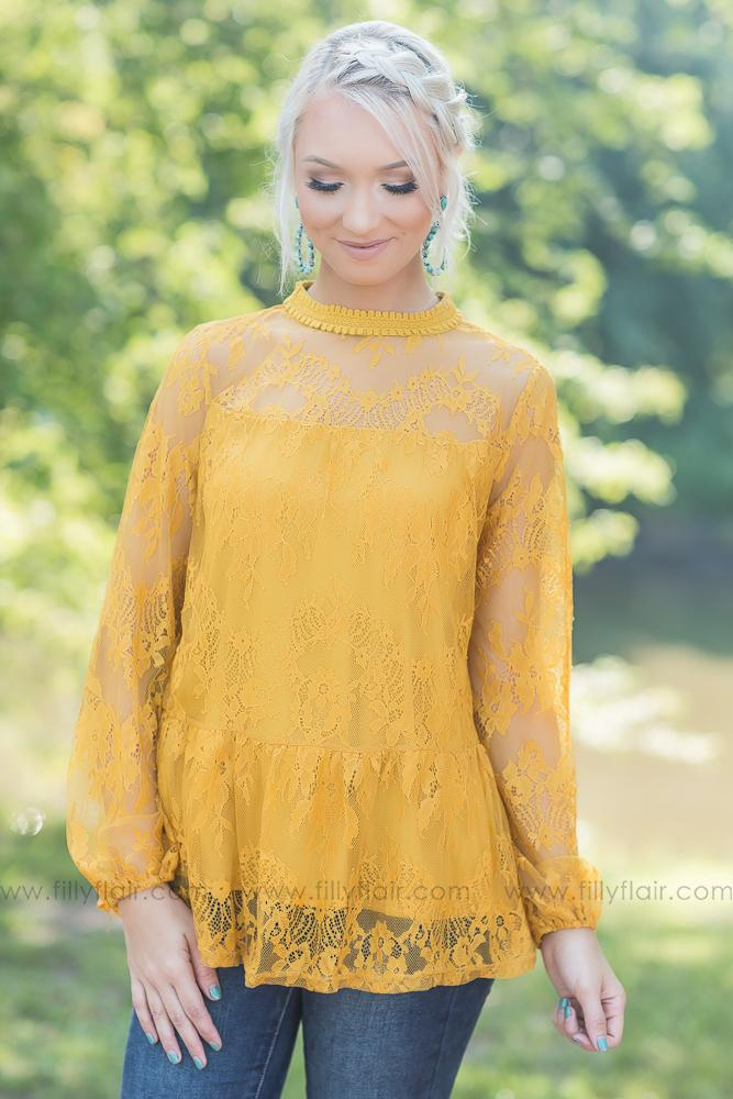 Love in Lace Long Sleeve Top in Mustard - Filly Flair