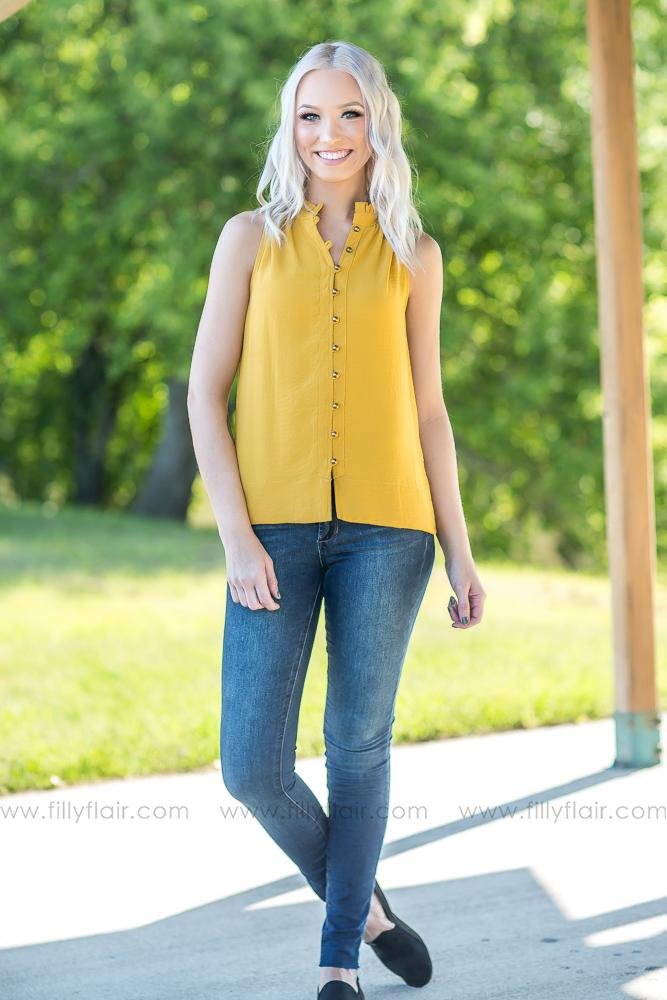 Plain View Mustard Button Up Top - Filly Flair