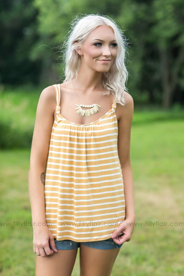 Always a Classic Striped Tank Top in Mustard - Filly Flair