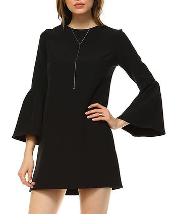 Classy Loose Fit Bell Sleeve Dress (Red or Black)