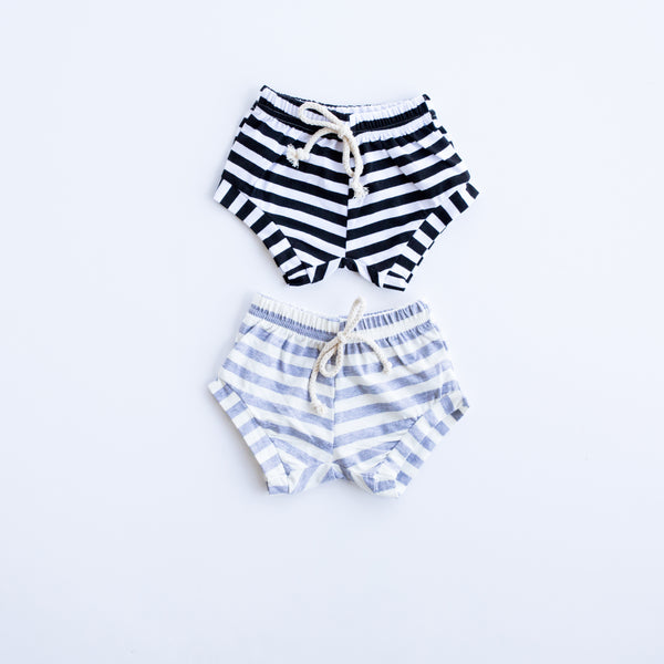 We carry the gray and white and the black and white striped Sailor Shorts!  These are a summer staple for your baby! Pair them with a white onesie and you're ready to go! We love them on girls or boys!