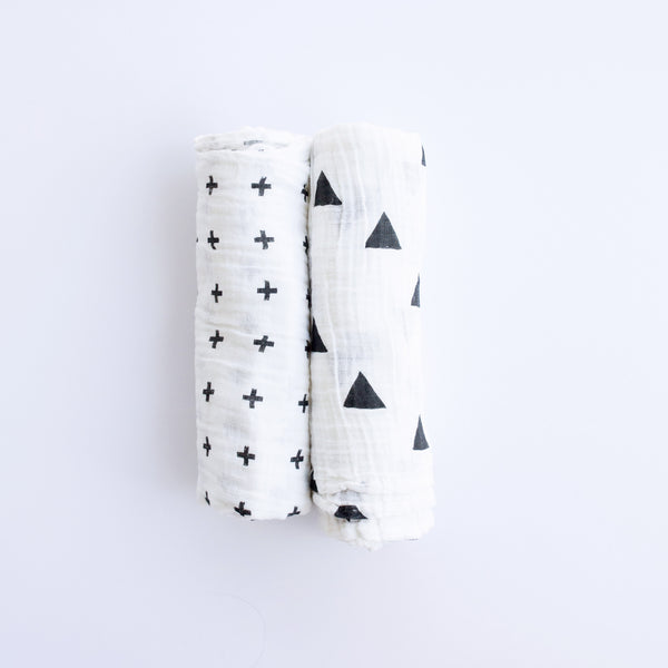 Soft muslin baby blankets perfect for cuddling. Unisex Plus or Triangle print.
