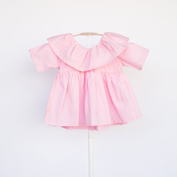 Beautiful cotton, pink, ruffle collar dress. We can't get enough of this color or style!