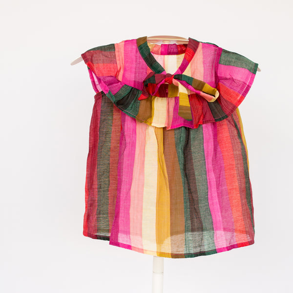Beautiful jewel-toned rainbow blouse. This sheer top is light weight and perfect for summer.