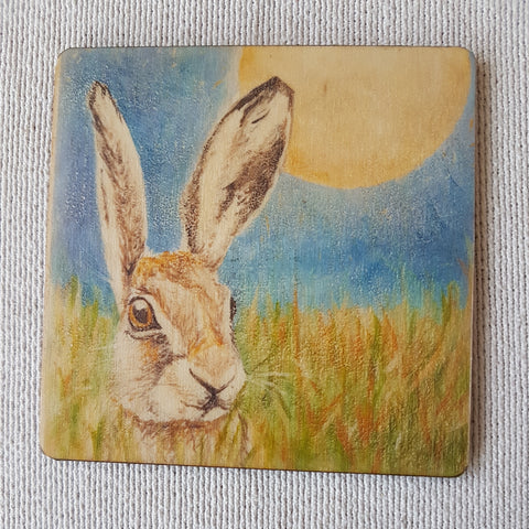 Wooden hand-finished coaster - Hare