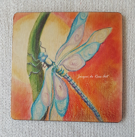 Wooden hand-finished coaster - Dragonfly