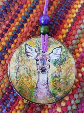Decorative Wood Totem Pendant - Woodland Doe