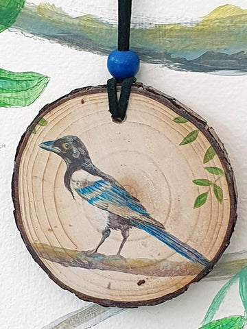 A - Decorative Wood Totem Pendant Offering - Magpie
