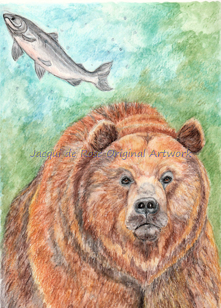 Original Painting - A - Bear and Salmon