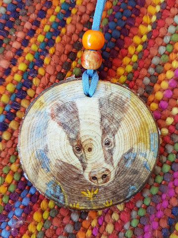 Decorative Wood Totem Pendant - Badger