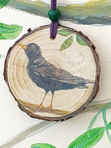 A - Decorative Wood Totem Pendant Offering - Blackbird