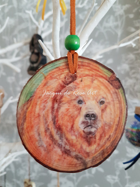 Decorative Wood Totem Pendant - Bear