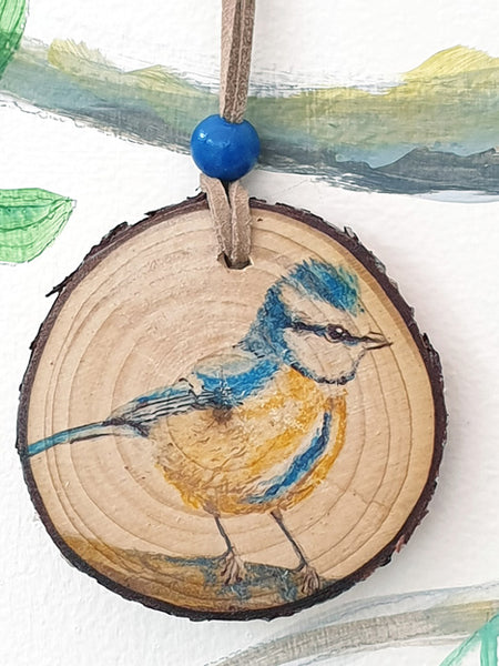A - Decorative Wood Totem Pendant Offering - Bluetit