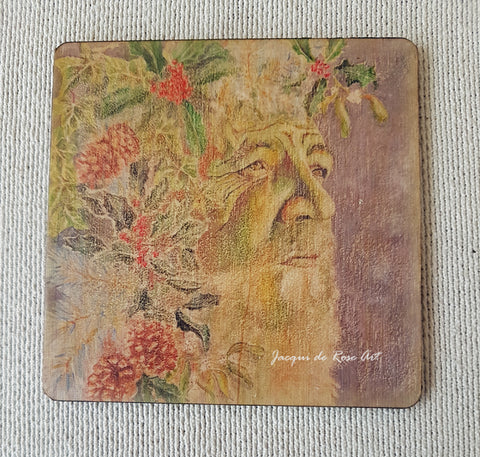Wooden hand-finished coaster - The Holly King