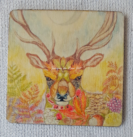 Wooden hand-finished coaster - Floral Stag